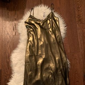Wilfred Only Slip Dress in Gold Foil